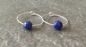 Blue Lapis Lazuli Gemstone & 20mm Sterling Silver Hoop Earrings with Gift Box