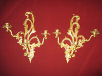 """Vintage Cast Iron Wall Candle Holders Hollywood Regency Style 24"""" tall 3 arms"""