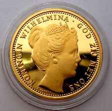 Netherlands 10 Gulden 1898 Silver Coin Proof with 24k Gold Plated Wilhelmi T98,1
