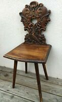 Antique German black forest chair early 1900's knights bird grape woodwork