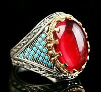 Turkish Handmade 925 Sterling Silver red ruby stone turquoise mens ring ALL SİZE