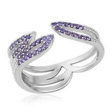 PURPLE SIMULATED DIAMOND OPEN BAND STERLING SILVER SPLIT RING SIZE 7 PURPLE