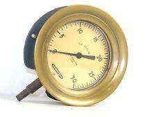 Antique The Bigelow Co. Lonergan GE Brass Steam Engine Pressure Gauge Hit n Miss