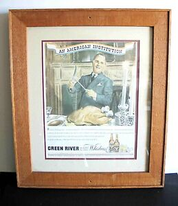 Framed 1940 Green River Whiskey Magazine Ad AMERICAN INSTITUTION turkey FREE SH