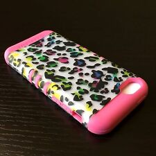 For iPhone 5C - HARD&SOFT RUBBER HYBRID ARMOR SKIN CASE COVER CORAL PINK LEOPARD