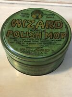 Rare Early 1900s Wizard Polish Mop Tin CONTINENTAL chicago, IL