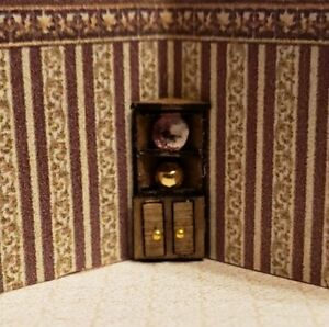 Miniature 1:144 Scale Decorative Corner Cabinet with Fancy Plate and Gold Vase
