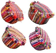 Ethnic Rag Rug Pouffe Cover Round Ottoman Cover Colorful Hippie Footstool Case