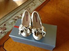 PRADA NAPPA SHINE  LEATHER BOW BALLERINA FLATS SZ 36.5