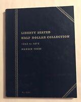"""VINTAGE """"USED""""  1863-1873 LIBERTY SEATED HALF DOLLAR  #3  OLD BLUE  #9037 FOLDER"""