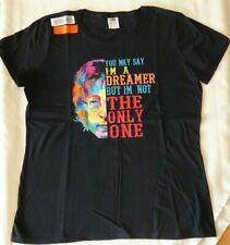 NWT Ladies John Lennon You Say I'm a Dreamer Large Short Sleeve Black Cotton Tee