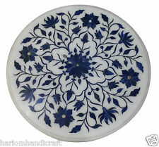 2' Marble Side Coffee Table Top Lapis Floral Inlay Hallway Decor Home Arts H929A