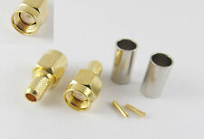 50pcs RP-SMA Male Straight Crimp for RG58 RG142 RG223 RG400 LMR195 RF Connector