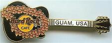 Hard Rock Cafe Guam Usa 1998 Peach Lei Flowers on Black Guitar Pin - Hrc #2665
