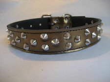 LEATHER STUDDED BRONZE DOG COLLAR