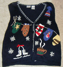 VTG Winter Mittens UGLY Christmas Sweater Womens Size XL Fun! Vest!