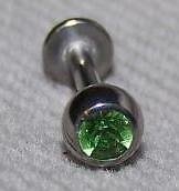 "JEWELED LABRET 14G  3/8"" BoDy JeWeLrY LT GREEN GEM"