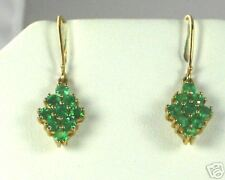 10K Genuine, Natural Emerald Dangle Earrings