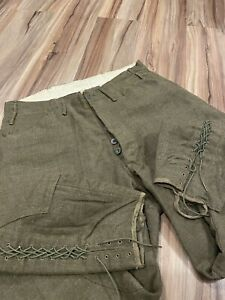 Excellent Vintage Military WW1 Men's Lace Bottom Wool Pants Trousers 30x29 Green