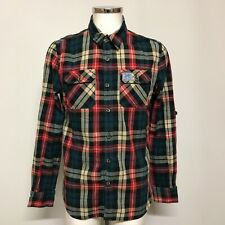 Superdry Shirt Size UK L Regular Red Blend Checked Print Menswear Formal 302469