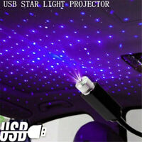 USB LED Car Atmosphere Lamp Interior Ceiling Ambient Star Blue Light Projector.