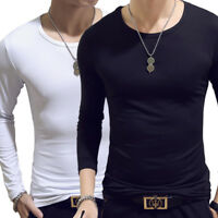 Men's Slim Long Sleeve O Neck Casual T-shirt Muscle Tee Shirts Tops Plus Size