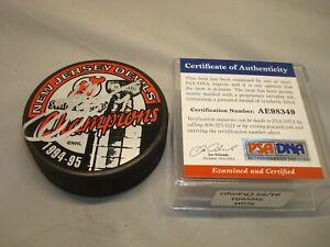 Scott Stevens Signed Devils Stanley Cup Champs Hockey Puck Auto PSA/DNA COA 1A