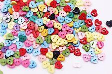 Tiny Heart Button Mixed Colors Mini Heart-Shaped Children Craft Diy 6mm 50pcs