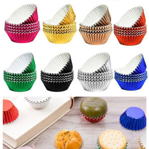 100pcs/Set Foil Metallic Paper Coloured Cupcake Cases Liners Muffin Cake Cup DIY