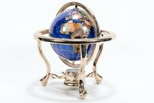 Decorative Table-Top Globe with Semi-Precious Mosaic-Styled Stone and Compass