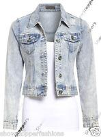 NEW Denim Jacket Womens Jean Jackets Ladies Ripped Distressed Size 8 10 12 14