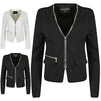 Womens Ladies Collared Long Sleeve Zip Up Office Work Tailored Jacket Blazer Top