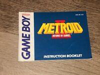 Metroid II 2 Return Samus Instruction Manual Booklet Nintendo Game Boy Authentic