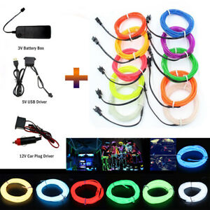 LED EL Kabel Leuchtdraht Neon Wire Lichtschnur Leuchtdraht Licht Glühen Party