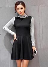 Fashion Womens Peter Pan Collar Full Circle Swing Dress Retro Long Sleeve Skirt