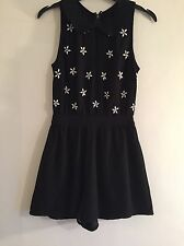 Topshop Black Playsuit With Flower Embellishments Beads Petite Size 6