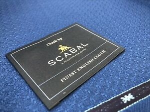 100% Wool COLIBRI By Scabal, Suiting Fabric Cloth, Marine Blue Geometric Design