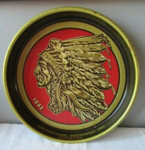 Vintage Iroquois Indian Head Beer & Ale Breweries Metal Tray Buffalo, NY