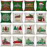 18'' New Christmas Xmas Cotton Linen Cushion Cover Throw Pillow Case Home Decor