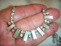 FLASH SALE VINTAGE Mother of Pearl Lucite Diamond Rhinestone Crystal NECKLACE