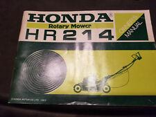 Honda Rotary Mower HR214 Owner's Manual 31VA3020 00X31-VA3-0201