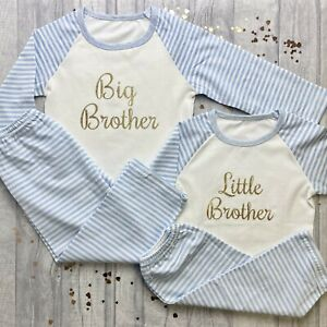 FAMILY MATCHING BROTHER PYJAMAS, Gold Little and Big Brother Blue and White PJs
