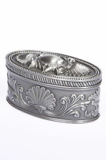 FLORAL OVAL SHAPED JEWELLERY TRINKET BOX,  PEWTER PLATED