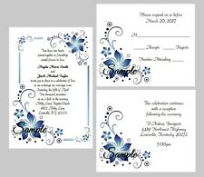 100 Personalized Custom Blue Floral Border Wedding Invitations Cards Set