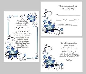 100 Personalized Custom Blue Floral Border Wedding Invitations Cards Set