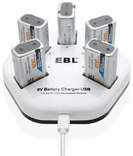 EBL 5 Pack 9V 6F22 Lithium-ion 600mAh Rechargeable Batteries bundle with 5 Bay I