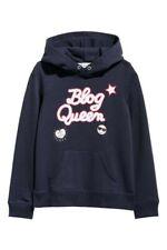H&M Girls Navy Blue Blog Queen Hooded Sweatshirt Hoodie Top BNWT Size 8-10 Years