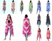 Womens Kimono Blouse Coat Boho Tiedye Cardigan Jacket Tops Beach Bikini Cover Up