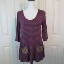 Soft Surroundings PS Bon Voyage Tunic Burgundy Gray Striped Gold Studded Pockets