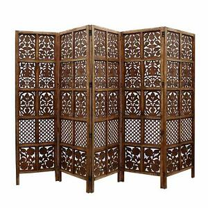 Indian Antique Furniture Handcraft Wooden Partition Screen Room Divider 5 Panels